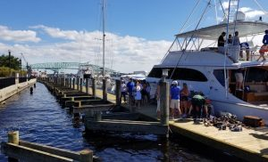 Portable wood docks installed in downtown Jacksonville