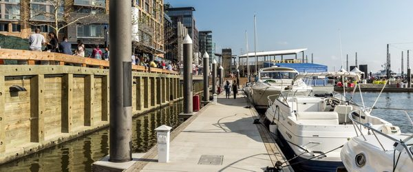 The Wharf's new marinas feature concrete docks from Bellingham Marine