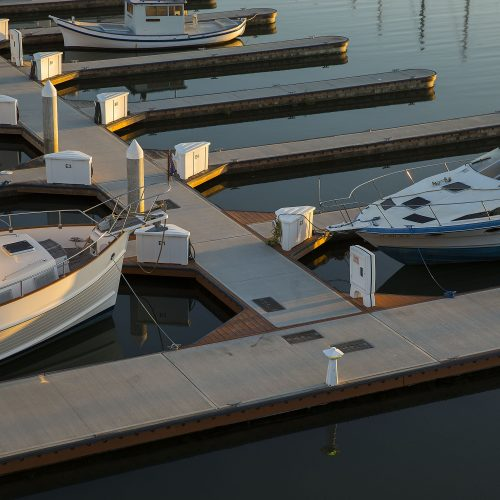 Ipe hardwood trim on Unifloat concrete docks.