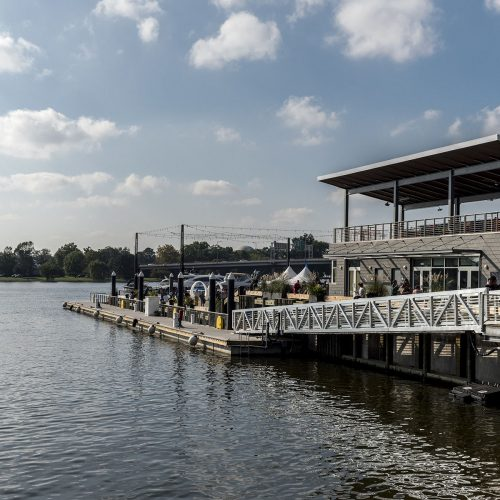 The Transit Pier is designed to be used with water taxis bringing people across the river.