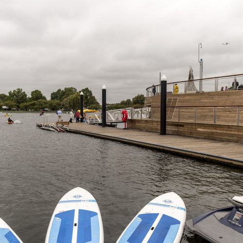 The Recreation Pier at The Wharf has 150 ft of low freeboard docks for paddle craft launching.