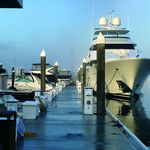 The heavy duty outer dock serves at transient moorage for large vessels as well as restaurant dockage.