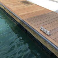 Custom trim piece on timber dock
