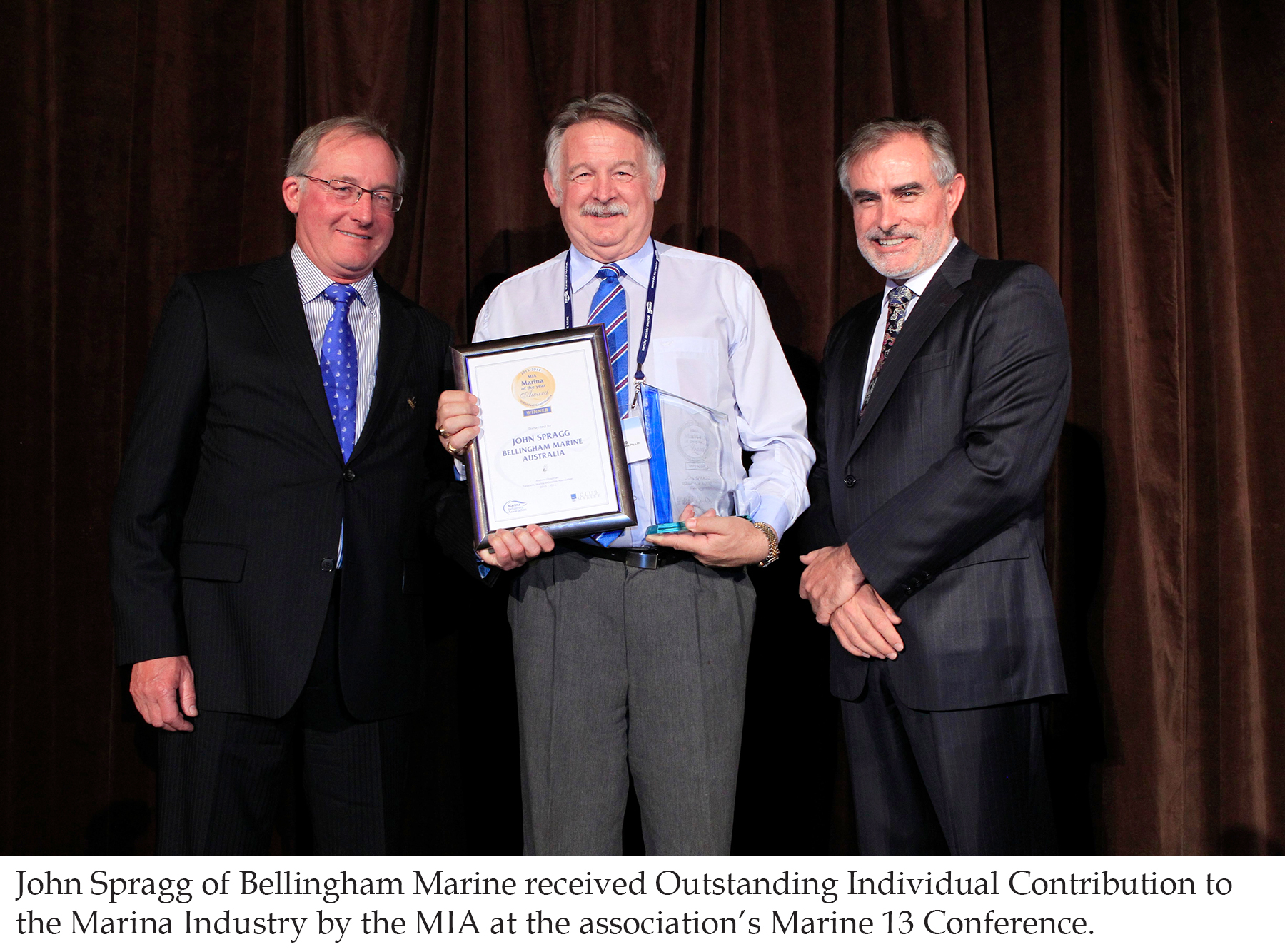 John Spragg received award for Outstanding Individual Contribution to the Marina Industry
