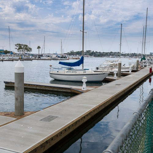 The marina features 44 transient slips and 700 linear feet of side-tie docks.